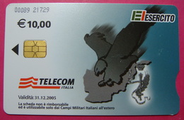 Serie 00089-217..., Italian Army In Kosovo Chip Phone CARD 10 Euro Used Operator TELECOM ITALIA *Eagle Flying* - Kosovo