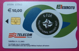 Serie 00094-03..., Italian Army In Kosovo Chip Phone CARD 10 Euro Used Operator TELECOM ITALIA *M. B. WEST KFOR* - Kosovo