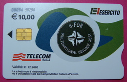 Serie 00094-58..., Italian Army In Kosovo Chip Phone CARD 10 Euro Used Operator TELECOM ITALIA *M. B. WEST KFOR* - Kosovo