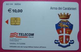 Serie 00104-36 Italian Army In Kosovo & Iraq Chip Phone CARD 10 Euro Used Operator TELECOM ITALIA *Arma Dei Carabinieri* - Kosovo