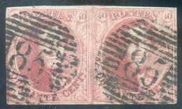 N°5(2) - Médaillon 40 Centimes Carmin-rose, En Paire, TB Amrgée, Obl. P.85 NAMUR Bien Nettes.  R Et TB  - 14386 - 1849-1850 Medaillen (3/5)