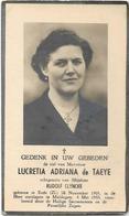 Doodsprentje  *  De Taeye Lucretia Adriana (° Eede 1901 / + Maldegem 1955)  X Clyncke Rudolf - Religion & Esotérisme