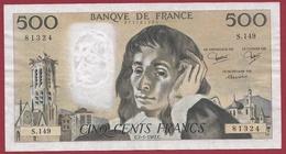 """500 Francs """"Pascal"""" Du 07/01/1981.C---VF/SUP---ALPH.S.149 - 1962-1997 ''Francs''"""