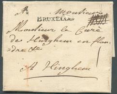 """LAC De BRUXELLES (griffe Noire) Le 14 Sept. 1747 En Recommandé (manuscrit """"NBNB"""") Vers Hinghem.  Port I (craie Rouge) + - 1714-1794 (Oesterreichische Niederlande)"""
