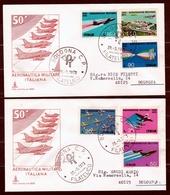 1973 Italia Italy Repubblica 50° AERONAUTICA MILITARE Serie Di 6v Su 2 FDC Capitolium Viaggiate Bologna Affr. 95L E 420L - Militaria