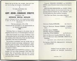Doodsprentje  *  Struyve Gery Henri (° Reninge 1895 / + Ieper 1958) X Hoflack Bertha - Religion & Esotérisme