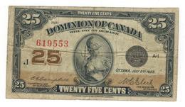 Dominion Of Canada,  25 Cents 1923, F/VF. - Canada