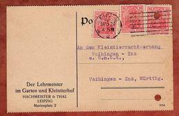 Karte, Germania, Perfin Firmenlochung H&T, Leipzig Nach Vaihingen 1920 (76602) - Briefe U. Dokumente