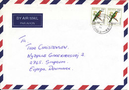 Kenya Air Mail Cover Sent To Denmark BIRD On The Stamps - Kenya (1963-...)