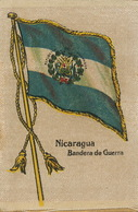Silk Flag Of Nicaragua . Bandera De Guerre . War Flag  Drapeau En Soie Guerre - Nicaragua
