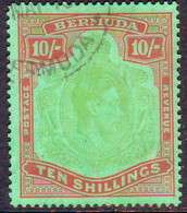 BERMUDA 1939 SG #119a 10sh Perf.14 Used Bluish Green And Deep Red On Green CV £130.00 - Bermuda