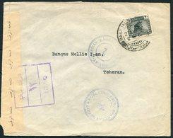 1942 Iraq Baghdad Ottoman Bank Censor Cover - Banque Mellie, Teheran Iran Persia - Iraq