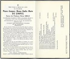 Doodsprentje  *  (Bourgmestre) De Simpel Pierre-Jacques (° Warneton 1883 / + 1959) X Sibille Marie - Religion & Esotérisme