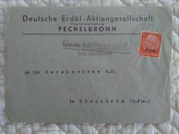 ENVELOPPE ELSASS Alsace Occupée Geschafts Papiere Deutsche Erdöl Aktiengesellschat PECHELBRONN Marcophilie PETROLE - Alsace-Lorraine