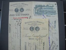 Meze 34 . 3 Traites Facture Huile D' Olives Jean Gautrand . De 1910, 11 , 12  . 2 Photos - Ambachten
