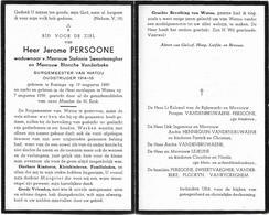 Doodsprentje  *  (Burgemeester) Persoone Jerome (° Reninge 1880 / + Watou 1959) X Sweertvaegher S. & Vanderbeke B. - Religion & Esotérisme