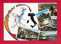 CARTOLINA VG ITALIA - Saluti Dal LAGO MAGGIORE - Vedutine Multivue - 10 X 15 - ANN. 1975 - Saluti Da.../ Gruss Aus...