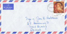 Uganda Air Mail Cover Sent To Denmark Kampala 4-3-1995 (fold On The Stamp) Single Franked - Uganda (1962-...)