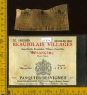 Etichetta Vino Liquore Beaujolais Villages 1965 - Francia - Etichette