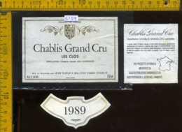 Etichetta Vino Liquore Chablis Grand Cru Le Clos 1989 - Francia - Etichette