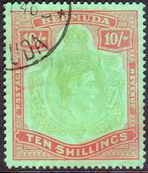 BERMUDA 1942 SG #119b 10sh Perf.14¼ Line Used Yellow Green And Carmine On Green CV £130.00 - Bermuda
