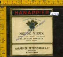 Etichetta Vino Liquore Mèdoc Vieux 1960 Hanappier - Francia - Etichette