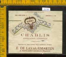 Etichetta Vino Liquore Chablis 1968 - Francia (difetto) - Etichette
