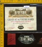 Etichetta Vino Liquore Chateau De Vaurenar 1966 Thorin - Francia - Etichette