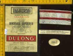 Etichetta Vino Liquore Vin Bordeaux Superieur 1962 Dulong - Francia - Etichette