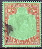 BERMUDA 1943 SG #119c 10sh Perf.14 Used Yellowish Green And Deep Carmine-red On Green CV £65.00 Ordinary Paper - Bermuda