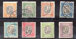 Serie De Islandia Servicio N ºYvert 24/31 (o)  (Nº 30 Con Charnela) Valor Catálogo 52.0€ - Oficiales