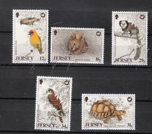 Jersey 1988  Wildlife Conservation Association, Marmoset, Tortoise, Bird Mauritius Kestrel Mi 442-446  MNH(**) - Jersey
