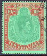 BERMUDA 1946 SG #119d 10sh Perf.14 Used Deep Green And Dull Red On Green(emerald Back) CV £70.00 Ordinary Paper - Bermuda