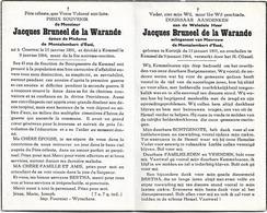 Doodsprentje  *  (Burgemeester) Bruneel De La Warande Jacques (° Kortrijk 1891 / + Kemmel 1964) X De Montalembert D'Esse - Religion & Esotérisme