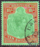 BERMUDA 1953 SG #119f 10sh Perf.13 Used Green And Dull Red On  Green CV £65.00 Ordinary Paper - Bermuda