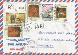 Togo 1988 Blitta G1 Elephant Mushroom Painter Mategna Resurrection AR Advice Of Receipt Registered Cover - Togo (1960-...)
