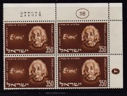 ISRAEL, 1956, Cylinder Corner Blocks Stamps, (No Tab),  Albert Einstein,  SGnr(s). 127 X868 - Israël