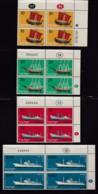 ISRAEL, 1958, Cylinder Corner Blocks Stamps, (No Tab),  Merchant Ships,  SGnr(s). 143-146, X876A - Israël