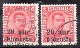 Sellos De Islandia Servicio N ºYvert 41*2 (o)  Valor Catálogo 4.50€ - Oficiales