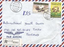 Togo 1995 Keve G1 Snake Reptile Python Regius UPU Registered Cover - Togo (1960-...)