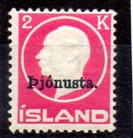 Sello De Islandia Servicio N ºYvert 42 **  Valor Catálogo 66.0€ - Oficiales