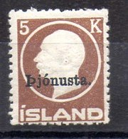 Sello De Islandia Servicio N ºYvert 43 **  Valor Catálogo 495.0€ - Oficiales