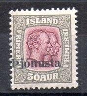 Sello De Islandia Servicio N ºYvert 62 **  Valor Catálogo 44.0€ - Oficiales