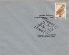 1980 SPC COVER URUGUAY- PRIMER CORREO 50 ANIVERSARIO. TIMBRE VIRGINIANUS NACURUTU- BLEUP - Uruguay