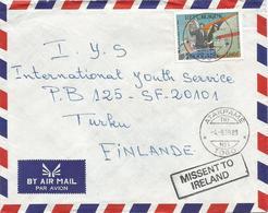 Togo 1989 Atakapame TRI No.1 John F Kennedy Jacky Paris Missent To Ireland Handstamp Cover - Togo (1960-...)