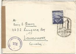 AUSTRIA CC CANADA 1947 CON CENSURA MAT PUENTE DE LONDRES LONDON BRIDGE - Puentes
