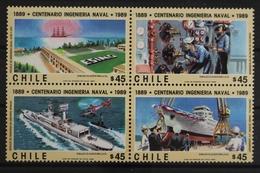 Chile, Schiffe, MiNr. 1302-1305, Viererblock, Postfrisch / MNH - Chili