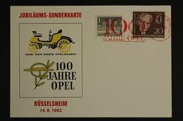 Rüsselsheim, 100 Jahre OPEL, 14.8.1962, Sonderkarte - Non Classés