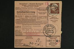 Deutschland (BRD). MiNr. 190 Auf Auslandspostanweisung Nach Frankreich - [7] Federal Republic
