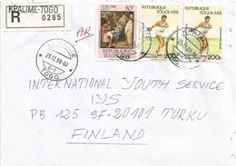 Togo 1988 Kpalime G-1 Disc Painter Breughel Three Kings Adoration Advice Of Receipt AR Registered Cover - Togo (1960-...)